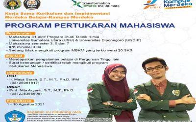 Program Pertukaran Mahasiswa Teknik Kimia UNDIP dan Universitas Sumatra Utara(USU) Tahun 2021.
